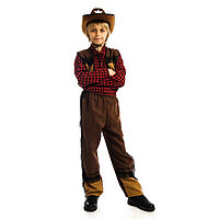 Карнавальный костюм 'Ковбой', шляпа, рубашка, жилетка, брюки, р. 30, рост 122 см