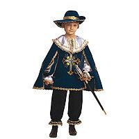 Карнавальный костюм 'Мушкетёр', бархат, размер 28, рост 110 см, цвет синий
