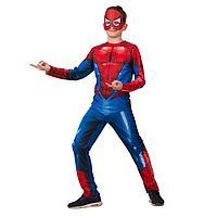 Карнавальный костюм 'Человек-паук', куртка, брюки, головной убор, р.32, рост 128 см