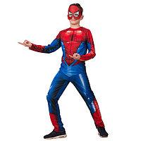 Карнавальный костюм 'Человек Паук', куртка, брюки, маска, р.34, рост 134 см