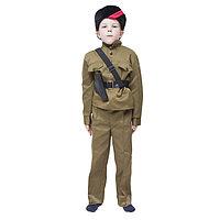 Карнавальный костюм 'Партизан', кубанка, гимнастёрка, портупея, брюки, 8-10 лет, рост 140-152 см