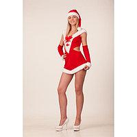 Карнавальный костюм 'Леди Санта', платье, шапка, р. 44-46