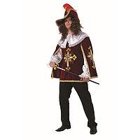 Карнавальный костюм 'Мушкетёр бордо', бархат, плащ, парик, шляпа , р. 54, рост 188 см
