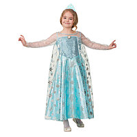 Карнавальный костюм 'Эльза', сатин, платье, корона, р. 34, рост 134 см