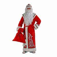 Карнавальный костюм 'Дед Мороз', шуба с аппликацией, цвет красный, р. 54-56, рост 188 см