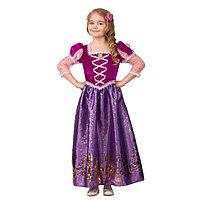 Карнавальный костюм 'Принцесса Рапунцель', текстиль-принт, платье, брошь, заколка, р. 32, рост 128 см