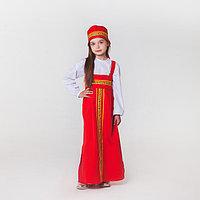 Карнавальный костюм для девочки 'Русский народный', сарафан, рубашка, кокошник, 6-7 лет