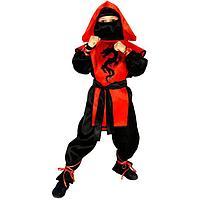 Карнавальный костюм 'Ниндзя Чёрный дракон', рубашка, брюки, защита, пояс, маска, р. 44, рост 164 см