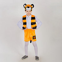 Карнавальный костюм 'Тигрёнок', маска-шапочка, жилетка, шорты, рост 122-128 см