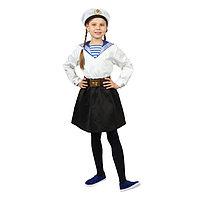 Карнавальный костюм 'Морячка в бескозырке' для девочки, белая фланка, юбка, ремень, р. 34, рост 134 см