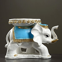 Фигура - подставка 'Слон Звезда' бело-золотой с голубым, 44x28x32см 290436