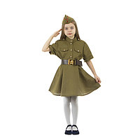 Карнавальный костюм военного платье с коротким рукавом, пилотка, р-р 38, рост 146-152 см