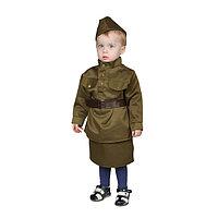 Карнавальный костюм 'Солдаточка-малютка', пилотка, гимнастёрка, ремень, юбка, 1-2 года, рост 82-92 см