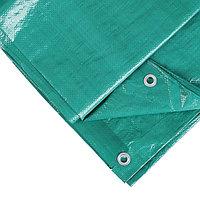 Тент защитный, 5 x 3 м, плотность 120 г/м, люверсы шаг 1 м, тарпаулин, УФ, зелёный/серебристый