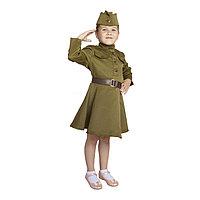 Карнавальный костюм для девочки, военное платье, пилотка, ремень, 3-5 лет, рост 104-116 см