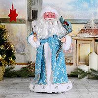 Дед Мороз 'В синей шубке с подарками' двигается с подсветкой, 38 см