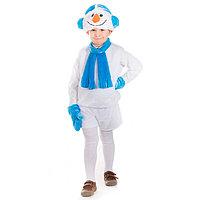 Карнавальный костюм 'Снеговичок', кофта, шарф, шорты, шапка, варежки, рост 122-128 см