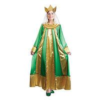Карнавальный костюм 'Царевна', атлас, платье, корона, р. 48, рост 172 см, цвет зелёный