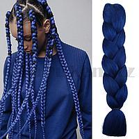 Канекалон накладные волосы одноцветные 60 см иссиня черный A28