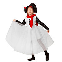 Карнавальный костюм 'Снеговушка', текстиль, платье, головной убор, р.32, рост 128 см