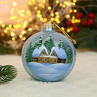 Ёлочный шар d-10 см 'Домики в снегу' ручная роспись