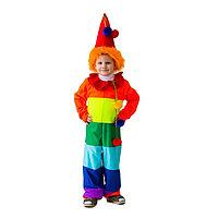 Карнавальный костюм 'Клоун радужный', комбинезон, колпак с волосами, рост 122-134 см