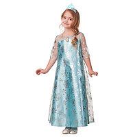Карнавальный костюм 'Эльза', сатин 2, платье, корона, р. 32, рост 122 см