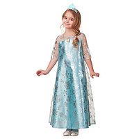 Карнавальный костюм 'Эльза', сатин 2, платье, корона, р. 28, рост 110 см
