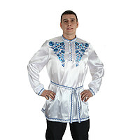 Рубаха русская мужская 'Синие цветы', атлас, р-р 56-58, цвет белый