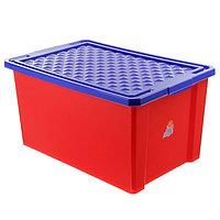 Ящик для игрушек Little Angel 'Лего', 57 л, на колесах с крышкой, цвет красный