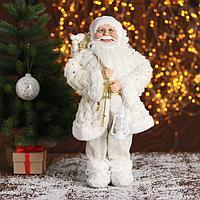 Дед Мороз 'В белой шубке, с подарками' 45 см