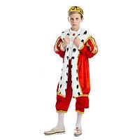 Карнавальный костюм 'Король', бархат, рубашка, брюки, мантия, корона, р-р М, рост 134 см