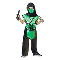 Карнавальный костюм 'Ниндзя. Иероглиф дракон', р. 30, рост 110-116 см, цвет зелёный