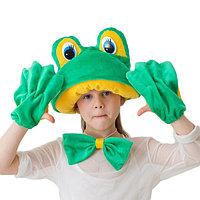 Карнавальный костюм 'Лягушка-квакушка', меховая шапка, бабочка, перчатки, рост 122-134 см