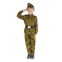 Детский карнавальный костюм 'Военный', брюки, гимнастёрка, ремень, пилотка, р-р 36, рост 140 см