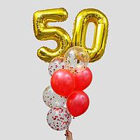Фонтан из шаров '50 лет', с конфетти, латекс, фольга, 10 шт.