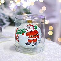 Ёлочная игрушка Шар 'Дед с белочкой', 10 см, стекло, ручная роспись