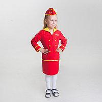 Детский карнавальный костюм 'Стюардесса', юбка, пилотка, пиджак, 4-6 лет, рост 110-122 см