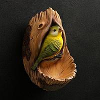 Подвесной декор ' Птичка в дупле' 12х14х24см
