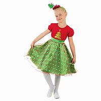 Карнавальный костюм 'Ёлочка в горошек', платье, ободок, р-р 32, рост 128 см