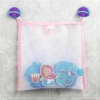 Наклейки в ванную из EVA 'Наша русалочка' + сетка для хранения игрушек на присосках