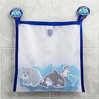 Наклейки в ванную из EVA 'Животные Севера' + сетка для хранения игрушек на присосках
