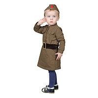 Костюм военного для девочки платье, пилотка, трикотаж, хлопок 100, рост 98 см, 1,5-3 года, цвета МИКС