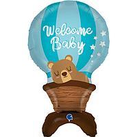 Шар фольгированный 38' 'Мишка на воздушном шаре', фигура для воздуха, цвет голубой