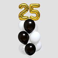 Фонтан из шаров '25 лет', с конфетти, латекс, фольга, 11 шт.