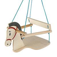 Качели детские подвесные 'Конь', деревянные, сиденье 30x30см