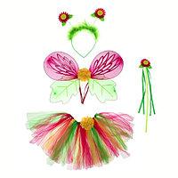 Карнавальный набор 'Цветочек', 4 предмета крылья, ободок, юбка, жезл, 3-5 лет