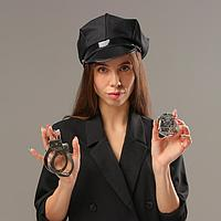 Карнавальный набор 'Секс-полиция', шапка, наручники, брошь