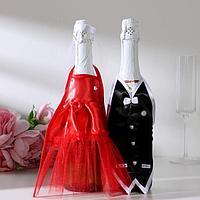 Украшение на шампанское 'Свадебный вальс' красное