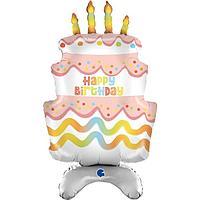 Шар фольгированный 38'' 'Торт на день рождения', ходячая фигура, для воздуха
